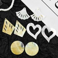 Charms Hyperbole Natural Shell Large Ginkge Leaf Rhombus Heart Round Pendant Mother Pearl DIY Necklace Earring Jewelry Accessory