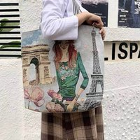 Casual Fashion Large Volume Linen Bags Women's Shopping Bag Artistic Style Tote Bagss Student Shoulder handag P007