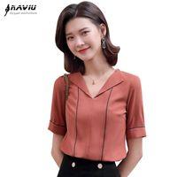 Женщины Блузки Рубашки Naviu 2021 Летние Женщины Мода V Шея Короткие Рукава Высокое Качество Элегантная Офисная Рубашка Формальные Топы