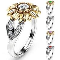 Anéis de casamento Sunflower Sunflower Crystal Prateado Exquisite Chegada Alergia 2021 1 pc Anel Gracioso