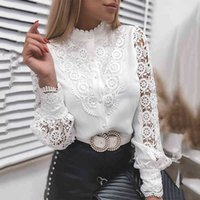 White Elegant Lace Hollow Out Women Blouse 2021 Spring Long Sleeve Shirts Y2K Buttons Mesh Top Autumn Vintage Ladies Clothes