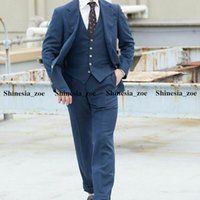 Navy Blue Mens Tuxedos Hot Selling Two Button Peaked Lapel Groom Wedding Prom Party Dinner Suits Custom Made 3 Pieces
