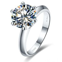 18 كيلو الذهب الأبيض مطلي 3ct nscd الماس خاتم الخطوبة للنساء فضة مجوهرات كلاسيكي ماركة الزفاف