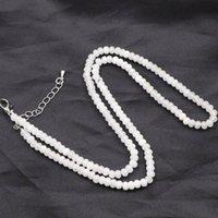 Белые натуральные JaDes Каменные бусы Choker Ожерелье для Женщин 2x4mm Кристалл Ясперс Короткие цепи Ожерелья Подарки Ювелирные Изделия 18 дюймов A818 Chokers