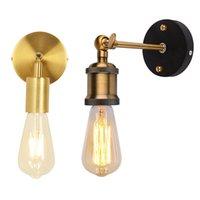 빈티지 LED 벽 조명 110V 220V E27 금속 벽 램프 홈 장식 간단한 단일 스윙 벽 램프 레트로 소박한 전등 조명 조명
