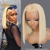 Lace Wigs 613 Blonde Bob Front Human Hair Wig Short Closure Transparent Brazilian Straight Frontal 13x1 T Part