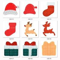 DHL SHIP XD0929 9 Styles Kids Christmas Fidget Toys Party Gifts Bubble Puzzle Push Pop Popping Board Game Xmas Hat Stocking Elk Shape Poo-its TIKTOK Toy Xmas10