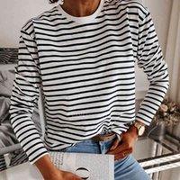 Women's Blouses & Shirts Female black and white stripes casual neck tops long sleeve shirt jumper srping fashion Korea PGRH