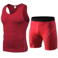 Conjuntos de carreras Set de chándales para hombre Gimnasio Jogging ropa interior Pantalones cortos de compresión Fitness Sportswear Homme Ropa camiseta