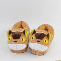 Totoro Cute Cat Cartoon Animal Vrouwen / Mannen Stellen Home Slipper Voor Indoor House Slaapkamer Flats Warm Winter Schoenen Slippers
