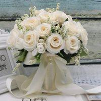 Flores de boda Sexemara Bridal Dama de honor Flor Ramo Artificial Rose Rojas de cristal