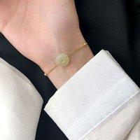 Silvología 925 Sterling Silver Hetian Jade Colgante Colgante Redondo Jade Lucky Botton Collar de lujo para mujeres Joyería de cumpleaños 806 R2