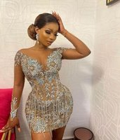 Sparkly Champagne Sequins Lace Sheath Prom Dresses 2022 Sheer Neck Long Sleeves Knee Length Evening Occasion Gowns For Black Girl Vestidos De Novia