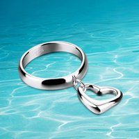 Küme Yüzük Dankadi Kadınlar için Şeftali Kalpler 925 Ayar Gümüş Yüzük Moda Mücevherat Kalp