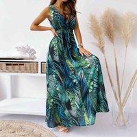 Mulheres Verão Vestido Longo Moda Floral Impressão Deep em V-Neck Halter Halter Banquete Casamento Casamento Holiday Beach