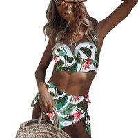 Women's Swimwear Women Sexy 2pcs Bikini Set Leaf Crisscross Swimsuit Underwire Pad Bathing Suit Q1JE