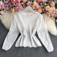 Women's Blouses & Shirts ZCWXM Women Blouse Long Sleeve Embroidered Hollowed Out Korean Top 2021 Loose And Thin Round Neck Shirt