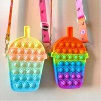 Fashion Coin Purse Wallet Ladies Rainbow Strawberry Shoulder Strap Bag Fidget Toy Push Bubble Hamburger Crossbody Bags For Girls CO26
