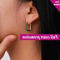 Creative jewelry, simple personality, copper cast U-shaped trendy women's earrings, micro diamond new earrings