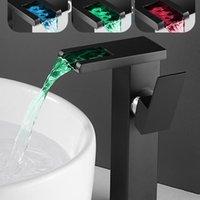 Bathroom Sink Faucets Temperature LED RGB Color Waterfall Basin Faucet Mixer Tap Single Handle Toilet Fixture