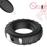 Male sex toy tire wireless remote control multi - frequency vibration silicone lock ring