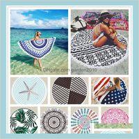 Toalla Inicio Textiles Jardín Euramerican Bath Bath 30 diseños con tassel mantón verano alfombra manta alfombra de yoga alfombrillas de picnic caídas deliv