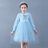 2020 Осенние Девочки Детские воротники платье ледяной снег 2 юбка принцессы