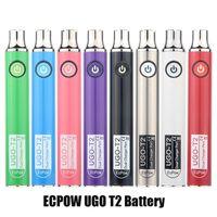 Otantik ECPOWE UGO T2 Değişken Gerilim 650mAh 900 mAh Pil Preheat VV Çift Şarj Portu Vape Kalem Piller 510 Kalın Yağ Kartuşları için 100% Orijinal