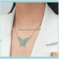 Chains & Pendants Jewelrynecklace Woman Rhinestone Butterfly Necklaces Women Pendant Ladies High Quality Jewellery Lady Jewelry Trendy Kpop