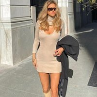 Casual Dresses Sexy Hollow Out Long Sleeve Bodycon Dress Women Autumn Turtleneck Club Knitted Sweater Party For Woman Robe Femme