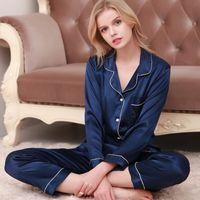 Lisacmvnel hielo seda sueltas mujeres pijamas rayon sleepwear pantalones de manga larga dos traje de papel