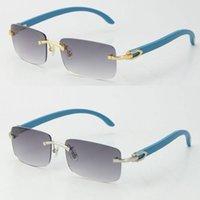 Berühmte Holz mit C-Dekoration Sonnenbrille Blaue Holz-Adumbral-UV400-Linse Online-Sommerurlaub geschützte Quadratische Sonnenbrille für Männer oder Frau Größe: 56-18-140