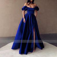 2021 Королевские голубые атласные платья выпускного вечера без бретелек с плеча раскол вечерние платья плиссированные A-Line Long Party Night Formal Pawns