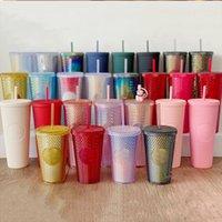 16Oz personalisierte Starbucks irisierende Bling Rainbow-Einhorn-namtige kalte Becher-Tumbler-Kaffeetasse mit Stroh