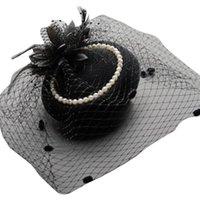 Stingy Brim Hats X7YA Purple Cap Mesh Fascinator 1920s Elegant Cocktail Headpiece Feather Costume Party Head Accessory