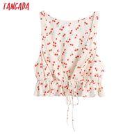Tangada Women Retro Flowers Print Sleevless Shirt Sexy Beach Chic Female Short Tops BE680 210609