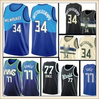 Giannis 34 Antetokounmpo Jersey 77 Luka Basketbol Formaları Doncic S-XXL