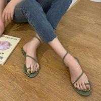 Kadınlar için Sandaletler Kız Peep-Toe Ayakkabı Flip Flop Üzerinde Kayma Yeşil Düz Düşük Topuk Tembel Seksi Yaz Plaj Açık Qiwn 1954219