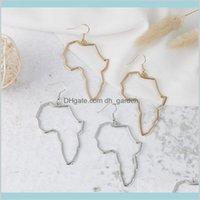 Dangle Chandelier Jóias Gota entrega 2021 Mapa Africano Big Brincos Exagerando Brinco maior Goldsiercolor África Ornamentos Traditual ET