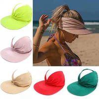9 colors Women Summer Sun Visor Cap Anti-ultraviolet elastic adult empty top hat sun hats Q117