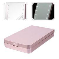 False Eyelashes LED Eyelash Holder Case Cosmetic Storage Box With Makeup Mirror