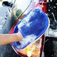 Car wash waxing gloves, interior cleaning, soft-proof fleece padded rag, blue, motorcycle washing tools