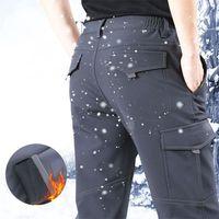 Winter Warm Men Casual Cargo Pants New Thicken Fleece Male Pants Men's Sportswear Hiking Trousers Multi-pockets