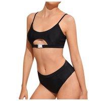 Swimwear da donna Solido Colore Bikini Split Bikini Set 2021 Summer Sexy High Seno Contrasto Gradiente Due pezzi Costume da bagno