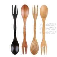 Fashion Natural Wood Spoon Fork 2 in 1 Cooking Dining Utensil Chinese Long Handle Cutlery