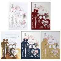 Greeting Cards 20pcs set Cut Ring Wedding Invitations Card Invite Envelopes Kit Bridal Shower Engagement Party Supplies