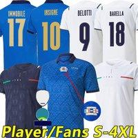 4XL 2021 Italie Sensi Barella Soccer Jerseys 21/22 Italia Insigne Bernardeschi Chiellini Coupe d'Europe Jersey Shirt Bonucci Belotti Jorginho Hommes Kit enfants