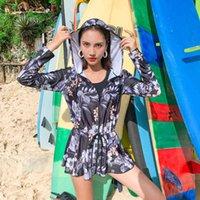인쇄 된 3 조각 수영복 긴 소매 앞 지퍼 러쉬 가드 수영복 비치 목욕 배 배가 여성을위한 수영복 슬리밍