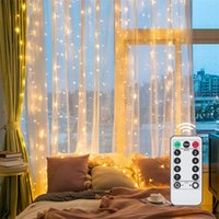 Strings LED Light String USB Sound Control Curtain 3*3m 300 Remote 8 Mode Copper Wire Lantern With Hook Drop D48