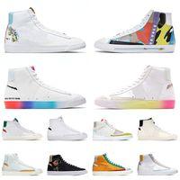 2021 En Kaliteli Blazer Orta 77 Erkek Kadın Platform Sneakers Ayakkabı Vintage Flyeather Ruohan Wang Indigo İyi Oyun Tasarımcısı Spor 36-45 Var
